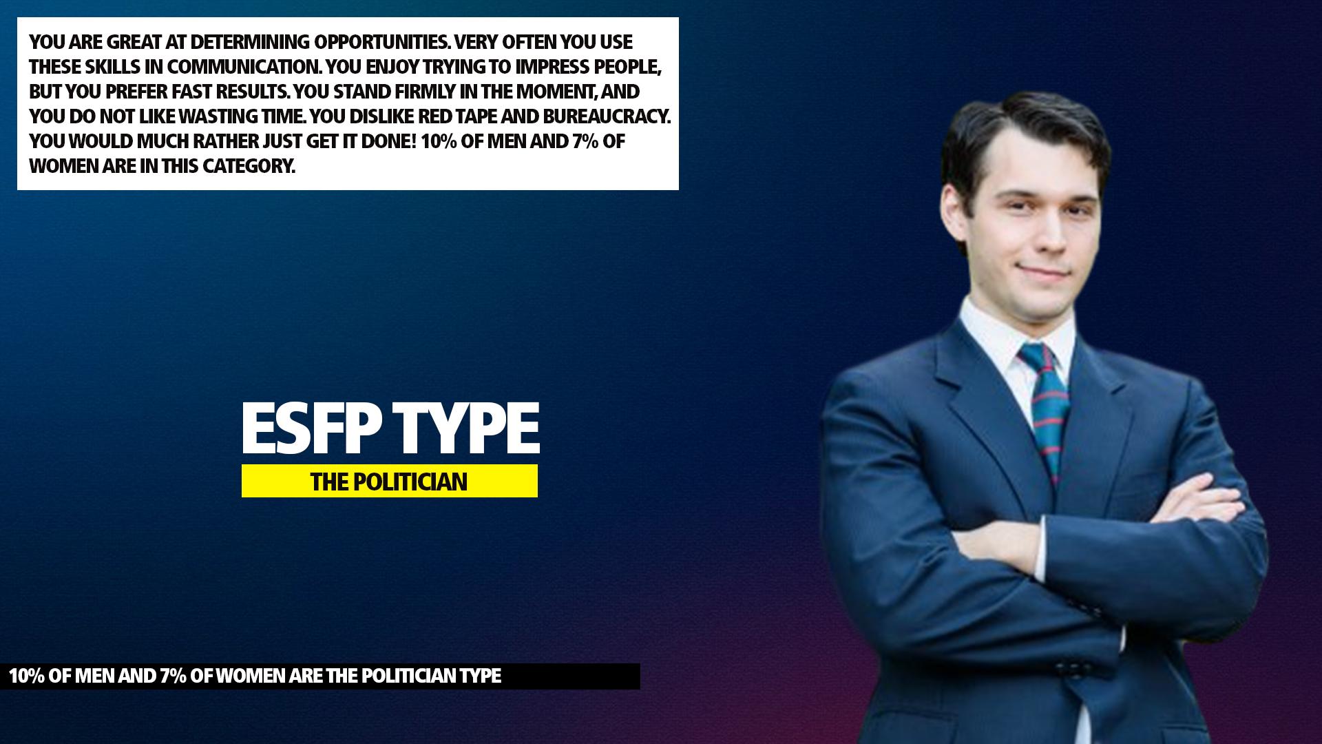 MBTI ESFP Politician Type